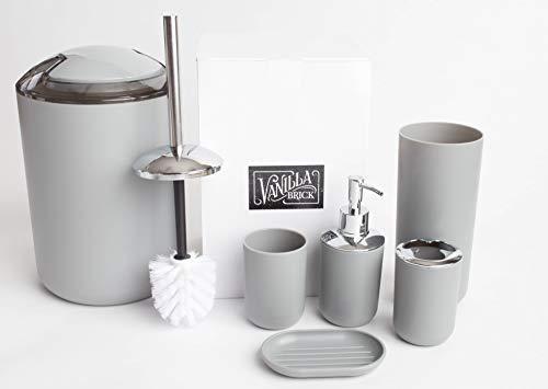 Vanilla Brick Bathroom Accessories Set, Soap Dispenser, Toothbrush Holder, Tumbler Cup, Soap Dish, Trash Can, Toilet Brush with Holder, 6 Piece Plastic Bath Gift Set (Grey)