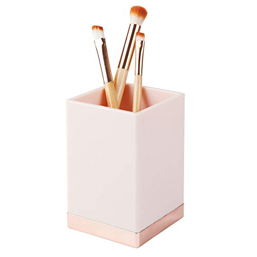 mDesign Decorative Plastic Bathroom Toothbrush and Toothpaste Stand Holder - Dental Organizer with 3 Storage Compartments for Bathroom Vanity Countertops and Medicine Cabinet - Light Pink/Rose Gold