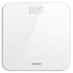 RENPHO Digital Bathroom Scale, Highly Accurate Body Weight Scale with Lighted LED Display, Round Corner Design, 400 lb, White