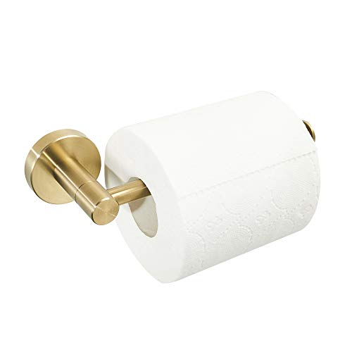 BATHSIR Luxury Brushed Gold Toilet Paper Holder, Round Base Stainless Steel Roll Paper Holder Bathroom Accessories, Wall Mount