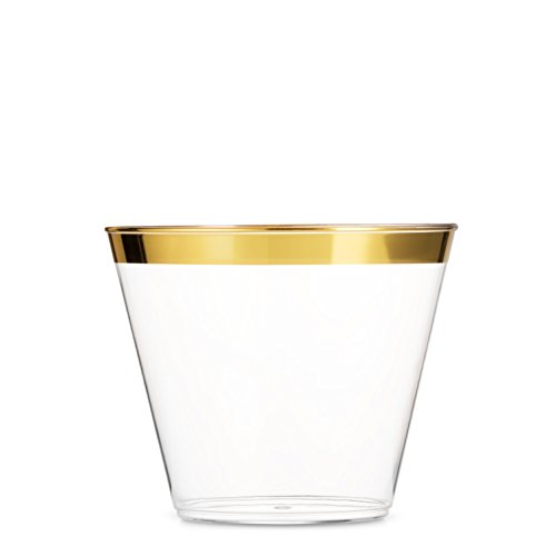 100 Gold Plastic Cups 9 Oz Clear Plastic Cups Old Fashioned Tumblers Gold Rimmed Cups Fancy Disposable Wedding Cups Elegant Party Cups with Gold Rim