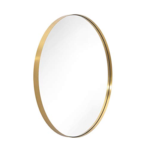 ANDY STAR Oval Wall Mirror   22x30'' Modern Gold Bathroom Mirror with Stainless Steel Metal Frame 1'' Deep Set Design