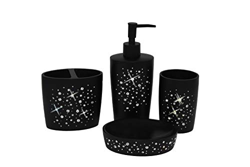 Wodlo - Star All Sky Bathroom Accessories Set - Complete Bath Accessory Sets Includes Soap Dispenser, Toothbrush Holder, Tumbler, Soap Dish,