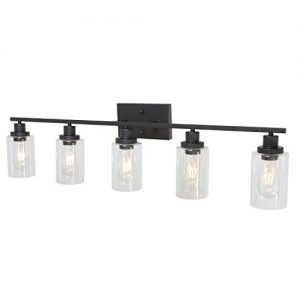 5-Light Wall Light Fixtures MELUCEE Vanity Lights Bathroom Fixtures Oil Rubbed Bronze Finished with Clear Glass, Industrial Wall Sconce for Living Room Bedroom Hallway Kitchen