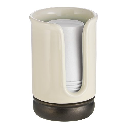 """iDesign York Ceramic Disposable Paper and Plastic Cup Dispenser Holder for Master, Guest, Kids' Bathroom Vanity and Countertops, 2.75"""" x 2.75"""" x 4.5"""", Vanilla and Bronze"""