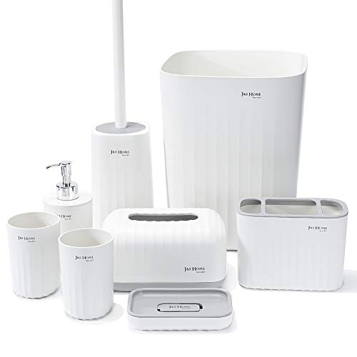 JOTOM Bathroom Set 8 Pieces Plastic Bathroom Accessories Luxury Bathroom Accessories Toothbrush Holder,Cup,Soap Dish,Hand Sanitizer Bottle,Tissue Box,Trash Can,Toilet Brush (White)
