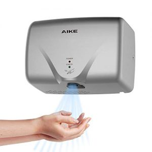 AIKE AK2803K Mini Automatic Hand Dryer for Household High Speed 1150W, Silver ABS Cover.