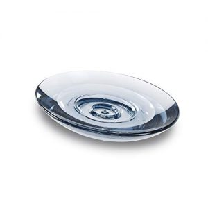 Umbra Droplet Dish Container for Bathroom-Acrylic Holder for Bath Sink-Nicely Fits Into Amenity Tray and Holds The Soap Bar Preventing It from Dirt and Ensures Zero Waste, Denim
