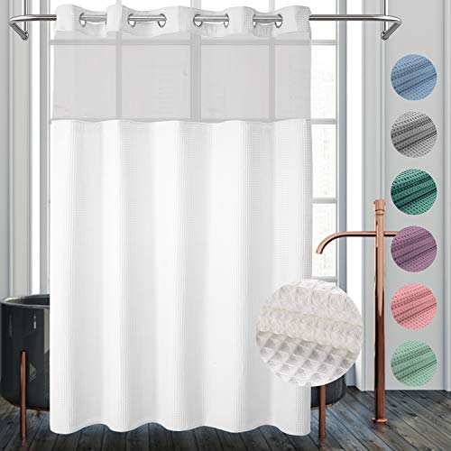 River Dream Waffle Weave Fabric Shower Curtain No Hooks Needed, Cotton Blend, with Snap-in Repalcement Liner - Hotel Grade, Water Repellent, Machine Washable - 71x74, White