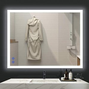 VENETIO 36 x 28 Inch LED Lighted Mirror Bathroom Wall Mounted Backlit Design with Adjustable Daylights and Memory Touch Button, Defogger and Waterproof Function