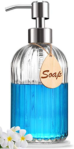 Soap Dispenser – Premium Quality – Large Size Hand & Dish Soap Dispenser – Rust Proof Stainless Steel Pump – Non Slip Pad Included – Ideal for Kitchen Dish Soap, Hand Soap, Essential Oil & Lotion