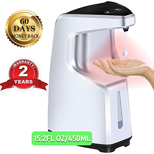 Automatic Soap Dispenser 15.2 oz /450ml Electric Touchless Hand Sanitizer Dispenser Hands-Free with Motion Sensor Countertop and Wall Mounted for Kitchen Bathroom Station Hospital, School.