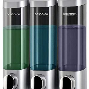 Bosharon Shampoo Dispenser, 3 Chamber Shower Soap Dispenser Wall Mount for Home, Bath, Kitchen, Hotels, Restaurants. Shower and Lotion Dispenser (Grey)