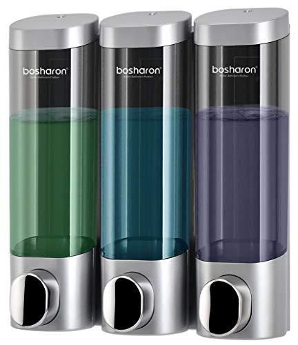 Bosharon Shampoo Dispenser, 3 Chamber Shower Soap Dispenser Wall Mount for Home, Bath, Kitchen, Hotels, Restaurants. Shower and Lotion Dispenser (Grey)
