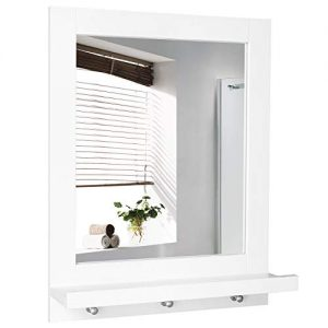 Homfa Bathroom Wall Mirror Vanity Mirror Makeup Mirror Framed Mirror with Shelf and 3 Hanging Hooks Multipurpose for Home, White