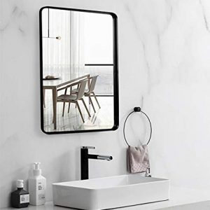 "Black Wall Framed Rectangular Mirrors for Bathrooms (22""x30""), Large Rectangle Mirror with Brushed Glass Panel, Modern Home Entryway Decor Mirror with Corner Deep Design, Hangs Horizontal or Vertical"