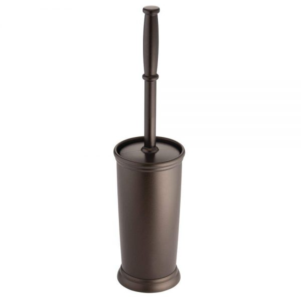 mDesign Compact Freestanding Plastic Toilet Bowl Brush and Holder for Bathroom Storage and Organization - Space Saving, Sturdy, Deep Cleaning, Covered Brush - Bronze
