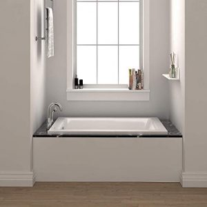 "Fine Fixtures Drop In White Soaking Bathtub, Fiberglass Acrylic Material, Exclusive Small sized 54""L x 30""W x 19""H."