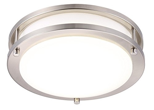 Cloudy Bay LED Flush Mount Ceiling Light,10 inch,17W(120W Equivalent) Dimmable 1050lm,5000K Day Light,Brushed Nickel Round Lighting Fixture for Kitchen,Hallway,Bathroom,Stairwell