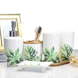 Ceramic Bathroom Sets,5 Pieces Bathroom Accessory Set-Lotion Dispenser,Toothbrush Holder,Tumbler & Soap Dish,Green Leaves Design Bath Ensemble (#2)