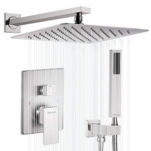 "Esnbia Shower System, Brushed Nickel Shower Faucet Set with Valve and 12"" Rain Shower Head Systems Wall Mounted Shower Combo Set for Bathroom All Metal"