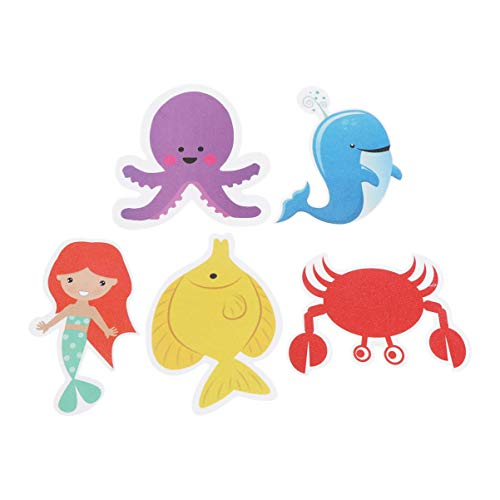 TOPBATHY 6PCS Marine Creatures Non-Slip Bathtub Stickers Cartoon Mermaid Waterproof Shower Safety Appliques for Baby Bath Tub