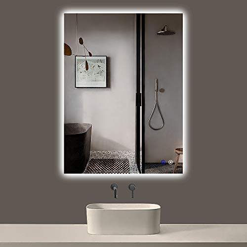 TokeShimi 28 x 36 Inch LED Backlit Mirror Bathroom Lighted Mirror Anti-Fog Wall Mounted Bath Mirror Dimmable Makeup Mirror with Lights (Horizontal/Vertical)
