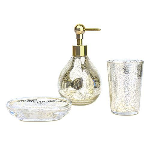 Bathroom Accessory Set Bathroom Soap Dispenser Set Bathroom Tumbler Bathroom Soap Dish Golden Luxury for Decor and Housewarming Gift