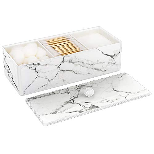 Luxspire Cotton Swab Holder with Lid, Marble Pattern Cotton Ball Dispenser Case, Makeup Canister Jar for Cotton Pads Bud, Storage Box Cosmetics Countertop Organizer Containers with 3 Compartments