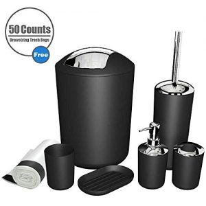 MIKOSI 6 Piece Bathroom Accessories Sets,Bathroom Set 6 Pieces Plastic Lotion Dispenser,Toothbrush Holder,Bathroom Tumblers,Soap Dish,Trash Can,Toilet Brush Set with Drawstring Trash Bags (Black)