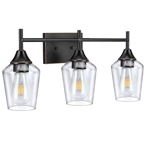 3-Light Industrial Bathroom Vanity Light Wall Sconce with Clear Glass Shade, Rubbed Bronze Finish, Vintage Wall Lamp Light Fixture for Bathroom,Bedroom,Dressing Table, (Bulb not Included) RPZ322