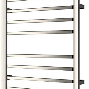 HEATGENE Towel Warmer, Heated Towel Rack with 8 Square Tube Bars Wall-Mounted Hardwired/Plug-in Towel Warmers for Bathroom, Hot Towel Drying Rack, Mirror Polish