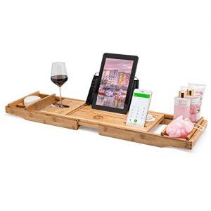 Morvat Bamboo Bathtub Tray, Bathtub Tray Caddy, Bathtub Tray with Book Holder, Bath Tray for Tub, Bathtub Caddy Tray, Bathtub Shelf for Laptop, Reading, Tablet | Bed and Bath Gift | Premium
