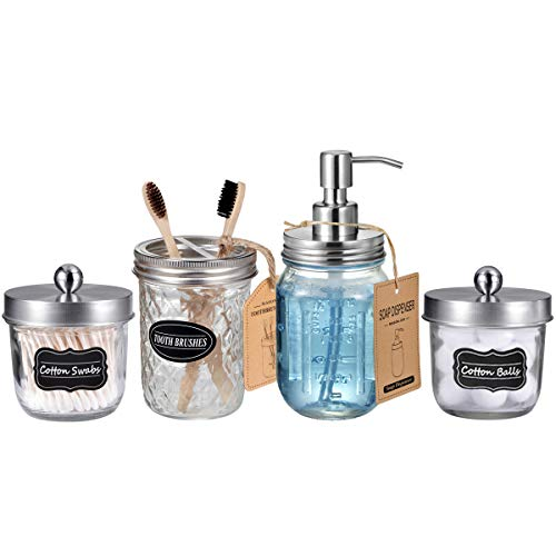 Mason Jar Bathroom Accessories Set(4 Pack) - Lotion Soap Dispenser&Qtip Holder Set&Toothbrush Holder-Rustic Farmhouse Decor Apothecary Jar Bathroom Countertop,Vanity Organize (Brushed Nickel)