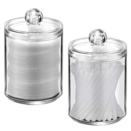 XP-Art Qtip Holder Clear Acrylic Cotton Swab Holder with Lids (2 Pack )