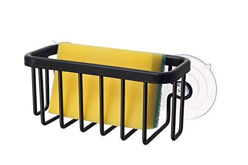 "SunnyPoint NeverRust Kitchen Sink Suction Holder for Sponges, Scrubbers, Soap, Kitchen, Bathroom, 6.02"" x 6.34"" x 2.56"", Aluminum (BLACK, 1)"