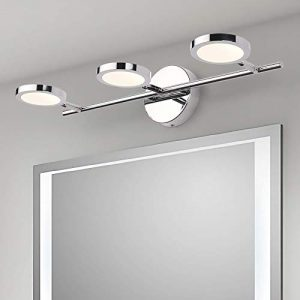 LED Vanity Lights 3-Lights, Joosenhouse Wall Sconces Bath Light for Mirror in Home Bathroom Up or Down Vanity Wall Lighting Fixtures 21.26 Inches Long Chrome 4000K