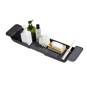 BlueSpace Bathtub Tray Caddy Luxury Shower Organizer Trays with Book and Wine Holder Extending Sides Bathroom Decor (Grey)
