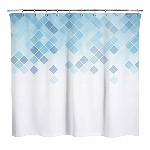 Sunlit Design Grid Mosaic Shower Curtain, Ombre Light Blue Geometric Fabric Shower Curtains for Bathroom Decor, Contemporary Bathroom Curtains, Light Blue