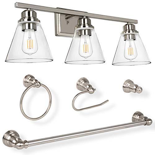 Hykolity 3-Light Vanity Light Fixture, 5-Piece All-in-One Bathroom Set (Led Edison Bulbs as Bonus), Brushed Nickel Wall Sconce Lighting with Glass Shads, ETL Listed