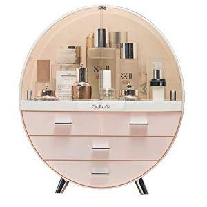 Makeup Storage Organizer Box,Cosmetics storage display rack with drawer,Waterproof, dustproof, elegant display cabinet,Suitable for bathroom countertop, bedroom dresser (Large Pink)
