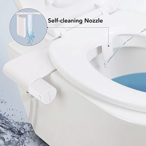 Non-Electric Bidet Toilet Seat Attachment w/ Self-cleaning, Easy Water Pressure Adjustment for Sanitary and Feminine Wash Simple Install