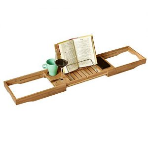 WELLAND Natural Bamboo Bathtub Tray Caddy with Adjustable Extending Sides, Expandable Tray with Cellphone Tray, Cup & Wine Glass Holder for Reading Book