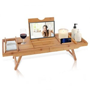 SereneLife Bath Caddy Breakfast Tray Combo - Natural Bamboo Wood Waterproof Bath Tub Caddy and Bed Tray with Folding Slide-Out Arms, Device Grooves, Wine Glass and Soap Holder SLBCAD50