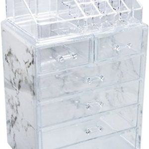 Sorbus Luxe Marble Cosmetic Makeup and Jewelry Storage Case Display - Spacious Design - Great for Bathroom, Dresser, Vanity and Countertop (4 Large, 2 Small Drawers, Marble Print)