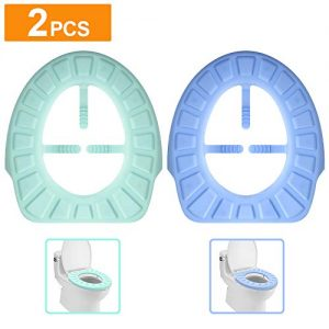 AmnoAmno Silicone Toilet Lid Seat Cover Pad,2 Packs Washable Portable Reusable Toilet Seat Cushion,Easy Installation & Cleaning,Waterproof and Non Slip for Home Use and Traveling(Blue & Green)