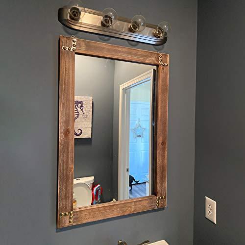 "MBQQ Rustic Flat Wood Frame Hanging Wall Mirror Decorative Bathroom Mirrors for Wall Vanity Mirror Makeup Mirror,24"" x 36"""