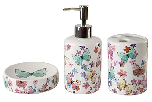Home-X Bathroom Butterfly Decor with Toothbrush Holder, Soap Dish, and Soap Dispenser