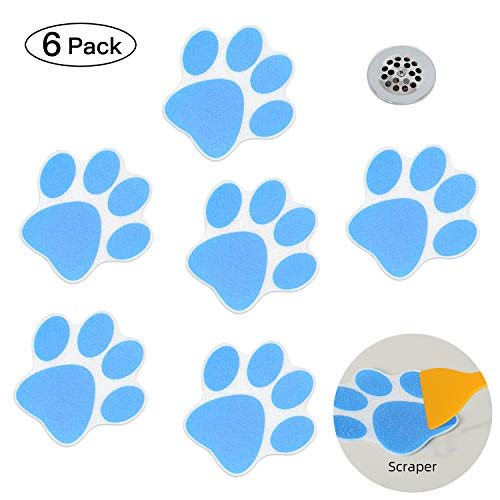 KarlunKoy Non Slip Bathtub Stickers Adhesive Safety Shower Treads Sticker Tub Tattoo Paw Print Bathroom Applique Decal with Scraper Pack of 6 (Blue)