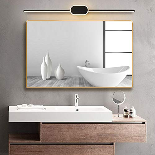 belle electrical Gold Bathroom Mirror, 24x32 inch Beveled Aluminum Metal Frame - Rounded Corner Wall Mirror, Rectangle Makeup Bathroom Mirrors for Wall, Gold Mirror Hangs Vertically or Horizontally
